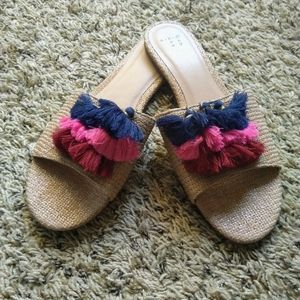 A New Day Ayana Raffia Tassel Slide Sandals